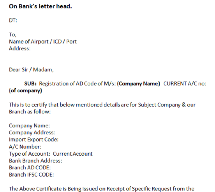 Ad Code Registration Request Letter